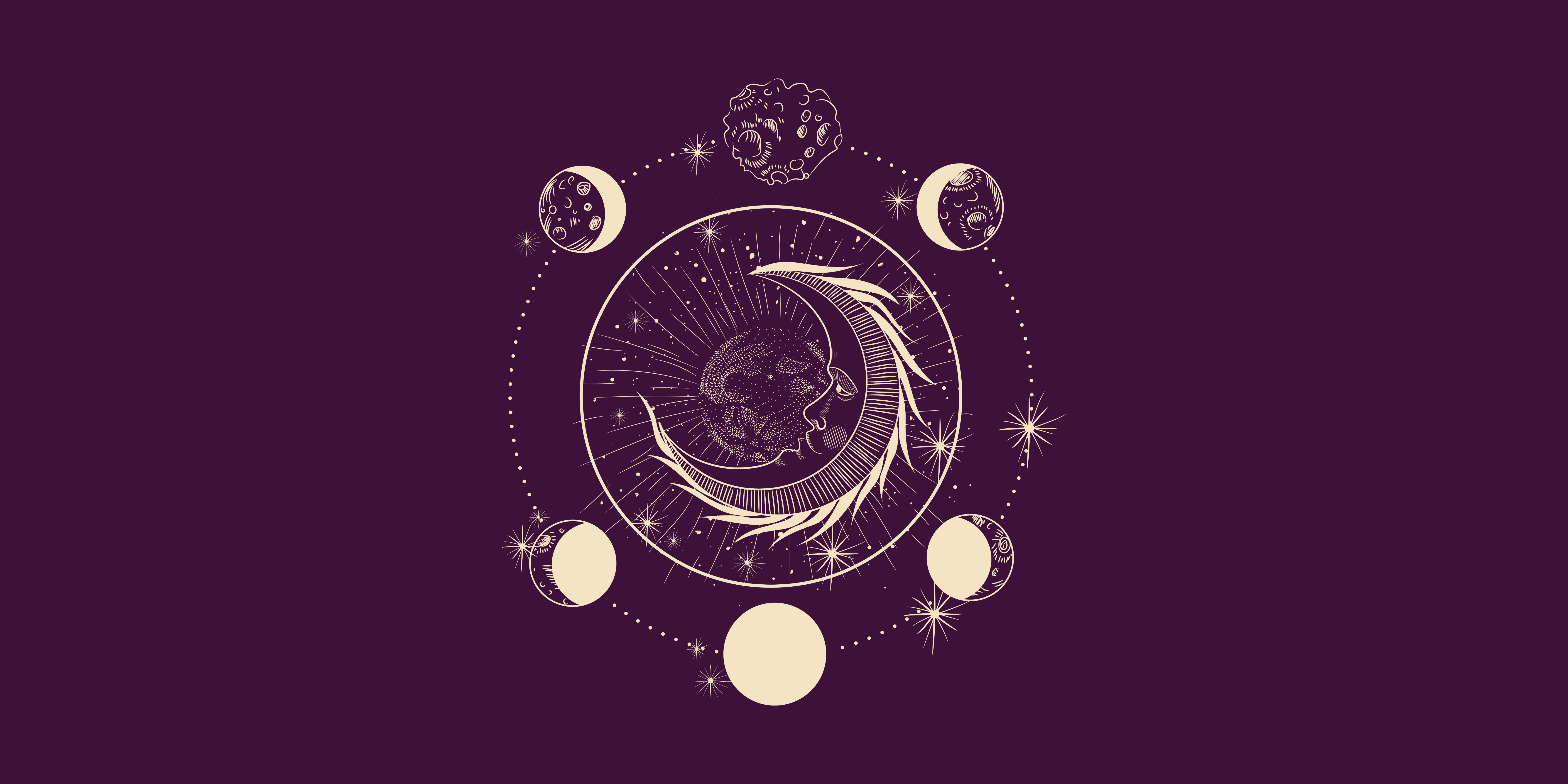An artistic drawing of the moon cycles. This image shows a crescent moon in the middle and the moon phases as they go from new moon to full moon and back around again.
